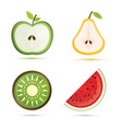 fruit set pear apple watermelon kiwi vector image