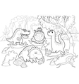 Funny dinosaurs in a prehistoric landscape black vector image vector image