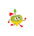 funny green apple character in warm winter clothes vector image vector image