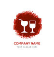 glass of drink icon - red watercolor circle splash vector image