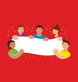 group young men and women together and holding vector image vector image