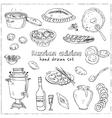 hand drawn set of russian cuisine pancake vector image vector image