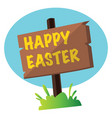 happy easter sign in the grass web on a white vector image