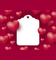 hearts with blank white tag on red background vector image vector image