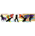 hip hop dancer on wall and city background vector image