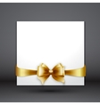 Invitation card with Gold holiday ribbon and bow vector image vector image