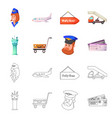 isolated object of airport and airplane sign set vector image vector image