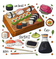 japan sushi and rolls sets on white background vector image vector image