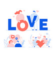 love lettering heart symbol people creative set vector image