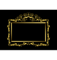 Luxury gold frame on black background vector image vector image