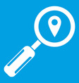 magnifying glass and location icon white vector image