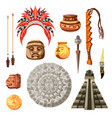 maya civilization culture icon set vector image