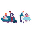 men take care women and do housework cleaning vector image vector image