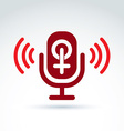Microphone with a red female sign woman gender vector image vector image
