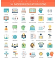Modern education flat icon set Elegant vector image