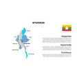myanmar map infographic template divided by vector image