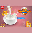 oatmeal ads pouring milk and oats background vector image vector image