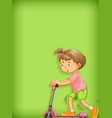 plain background with girl playing scooter vector image vector image