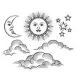 retro engraved moon sun celestial faces vector image