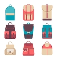 School backpack in a flat style Kids backpack on vector image vector image