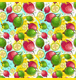 seamless pattern kumquat fruits exotic ornament vector image vector image