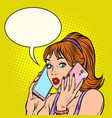 serious woman talking on two phones at same vector image vector image