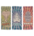 Set banners with ethnic and yoga symbols