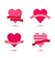 set cute hearts with ribbons heart vector image