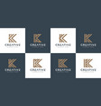 set initials letter k abstract logo design vector image vector image