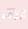 set of cute white bunny hand drawn style vector image