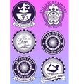 Set of vintage purple badges for yoga studio vector image vector image
