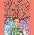 shaman boho girl with succulent floral hair on sun vector image