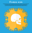 Skull icon Floral flat design on a blue abstract vector image