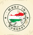 Stamp with map flag of Hungary vector image vector image