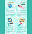 summer hot and fun swimming people posters set vector image