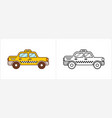 taxi cab coloring book yellow side vector image