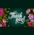 thank you lettering decorated with flowers poster vector image