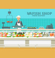 the showcase at fish store with seller vector image vector image
