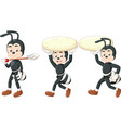 three black ant with two huge rocks and shovel vector image vector image