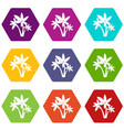 three palm trees icon set color hexahedron vector image vector image
