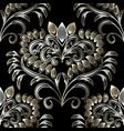 vintage floral hand drawn seamless pattern black vector image