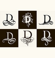 vintage set capital letter d for monograms and vector image vector image