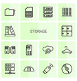 14 storage icons vector image vector image