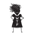 annoyed woman asking hands on hips vector image vector image