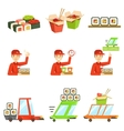 Asian Food Fast Delivery Service Process Info vector image