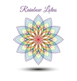 Beautiful rainbow lotus flower vector image