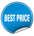 best price round blue sticker isolated on white vector image vector image