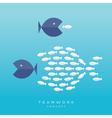 Big Fish Small Fish Teamwork Concept vector image