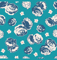 blue rose garden ditsy floral seamless vector image