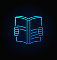 book read blue icon vector image vector image